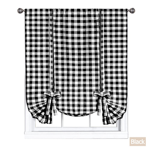 Buffalo Check Window Curtain Tie Up Shade