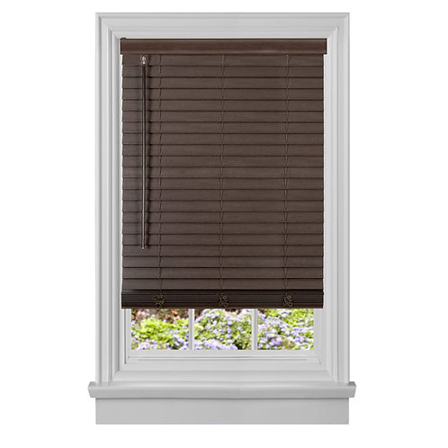"Cordless GII madera Falsa 2"" Faux Wood Plantation Blind - Mahogany"