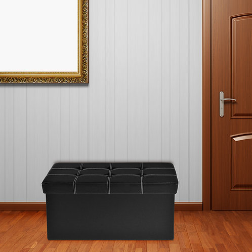 Faux Leather Tufted Ottoman - 15x30