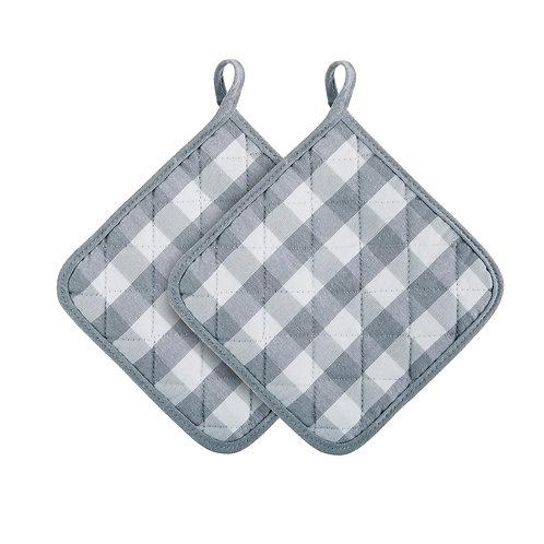 Buffalo Check Pot Holder, Set of Two - Grey