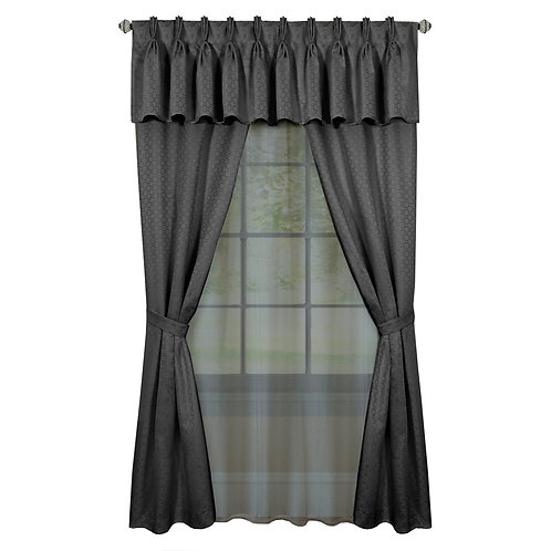 Claire 6 Pc Window Curtain Set - Charcoal