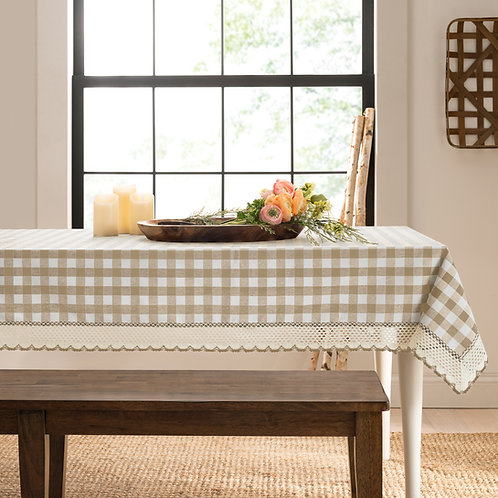 Buffalo Check Accessories Rectangle Tablecloth -  Taupe