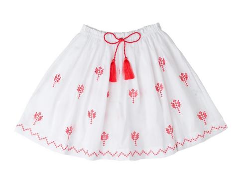 [Pre-Order] Kidsagogo - Juniper Skirt White/Poppy Red
