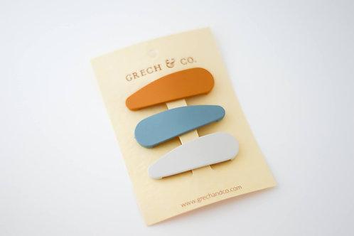 Grech & Co. SNAP MATTE CLIP SET OF 3 - GOLDEN, LIGHT BLUE, BUFF
