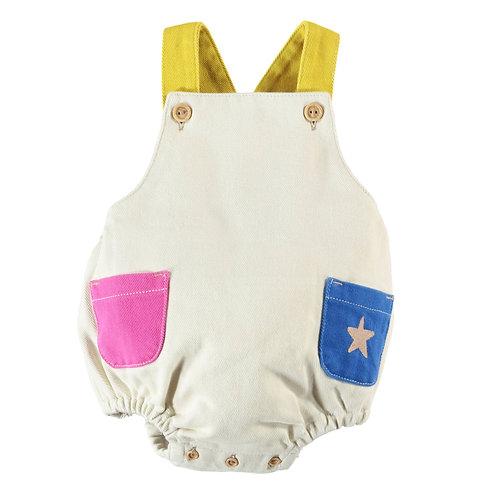 Piupiuchick - Baby romper | ecru w/ multicolour straps & pockets