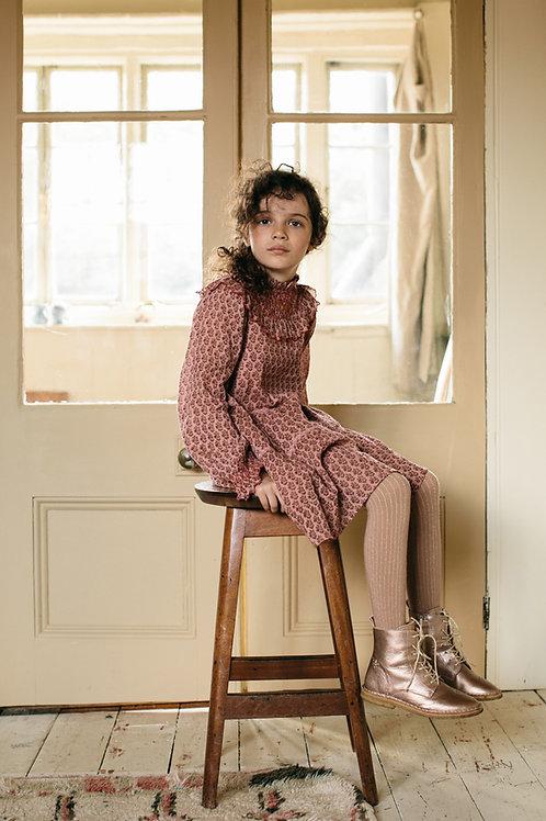 Emile et ida - Pink Daisy Layered Crepe Girl Dress