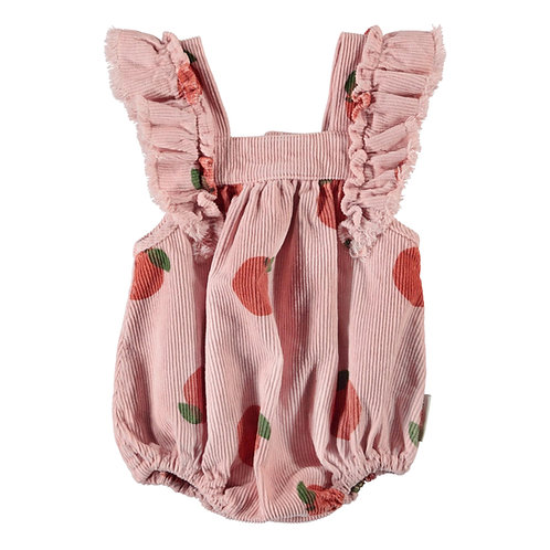 Piupiuchick - Baby romper w/ frills on shoulders | light pink  w/ peach allover