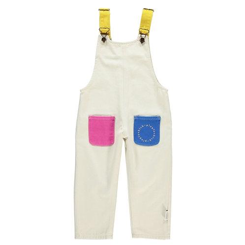Piupiuchick - Dungarees w/ pockets | ecru w/ multicolour straps & pockets