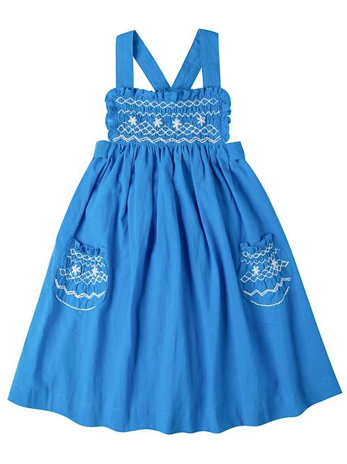 [Pre-Order] Kidsagogo - Willow Dress Cobalt White