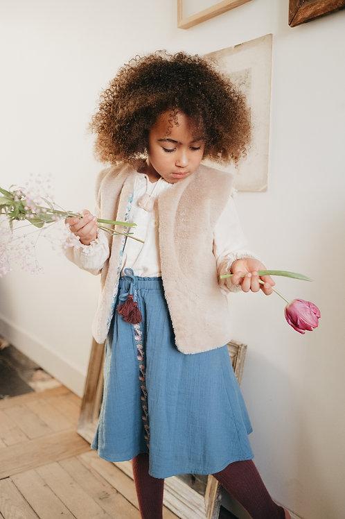 Louise Misha - Eva Reversible Vest  Noisette - Blue French Flowers