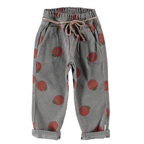 Piupiuchick - Trousers w/ belt | grey w/ peaches allover