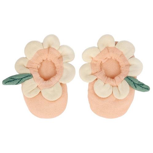 Meri Meri - Peach Daisy Baby Booties