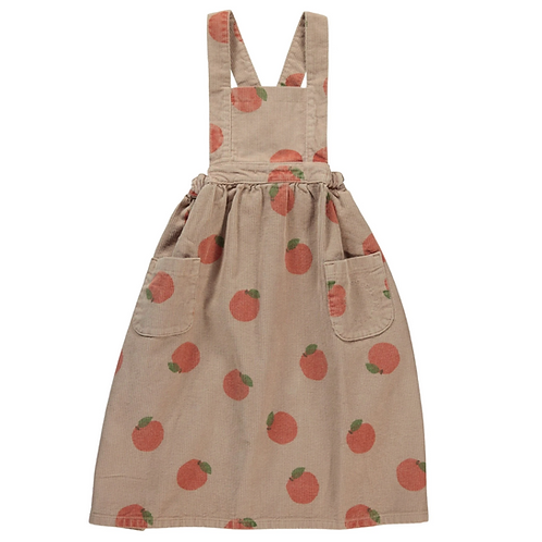 Piupiuchick - Long dress w/straps   light brown w/ peaches allover