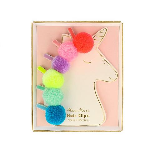 Pompom Unicorn Hair Clips (set of 6)