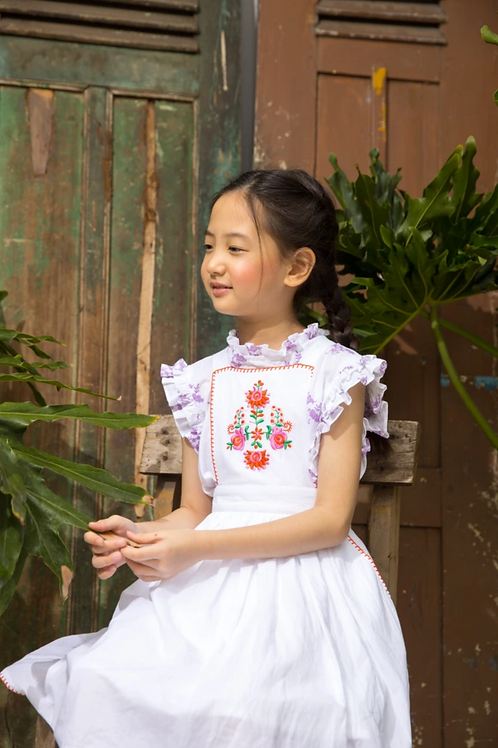 Kidsagogo - Marie Pinnie Dress White/Hot