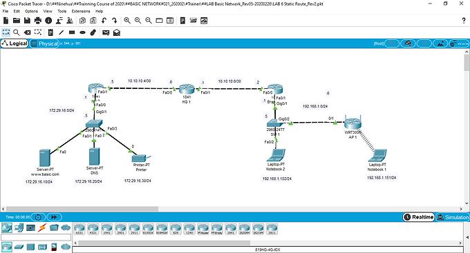 การเปิด LAB ของ 9HUA Training และใช้งาน LAB ด้วยโปรแกรม Packet Tracer