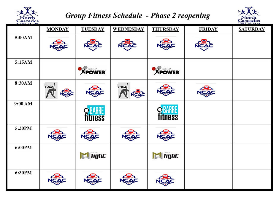 Group Fitness Schedule - Phase 2 August.