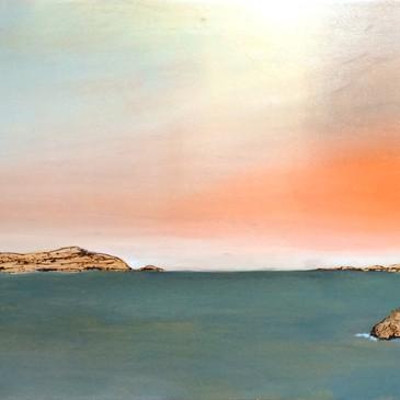 Green Sea and Orange Horizon