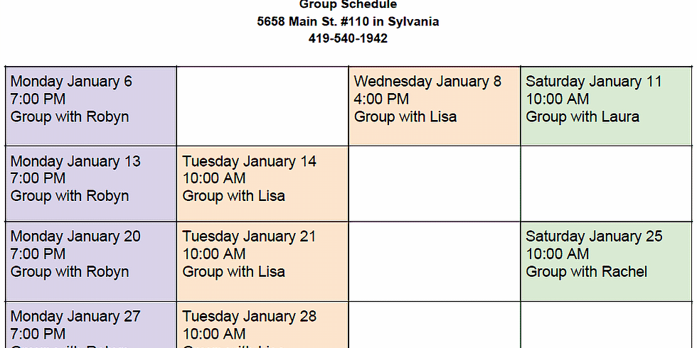 January Group Schedule