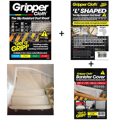 Gripper Cloth Stair Bundle 2 - L Shape, Banister cover & Stair runner