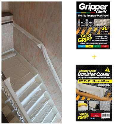 Gripper Cloth & Banister Cover Dust Sheet Staircase bundle