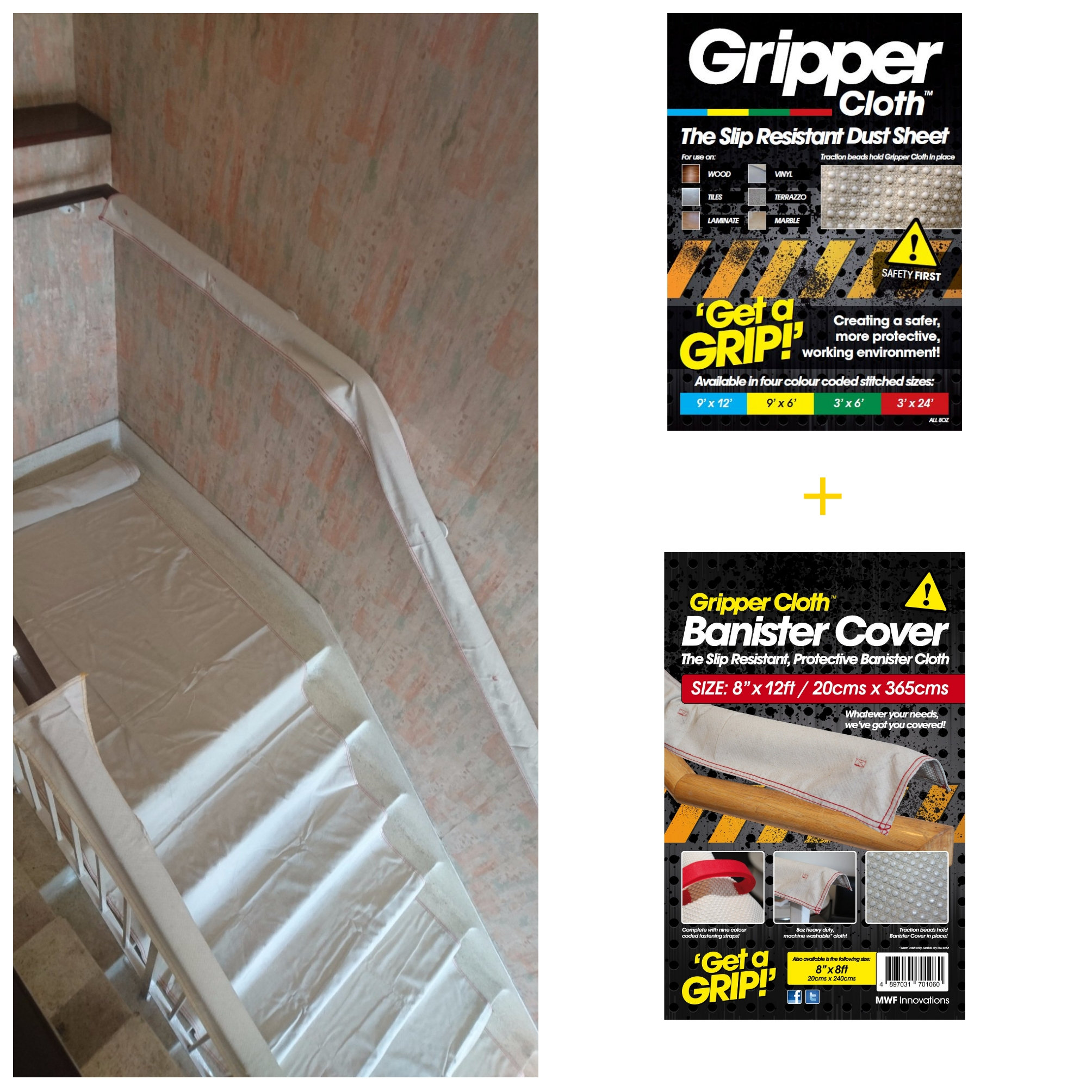 Gripper Cloth Amp Banister Cover Dust Sheet Staircase Bundle