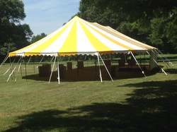 Yellow and White Striped Tent