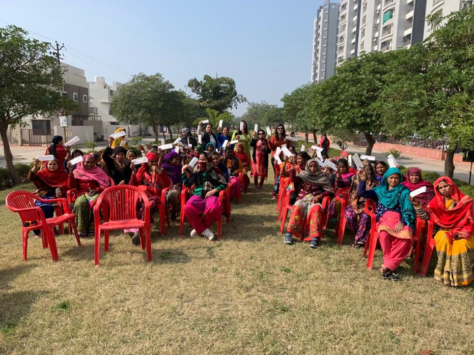 Free pad distribution for female guards and cleaning personnel at Shri Radha Valley