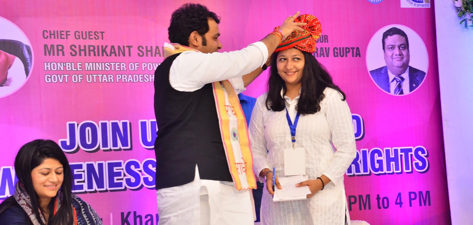 Felicitated by cabinet minsiter Shrikant Sharma Ji