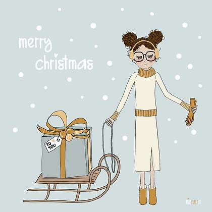 """Klappkarte """"Weihnachten Schlitten"""""""