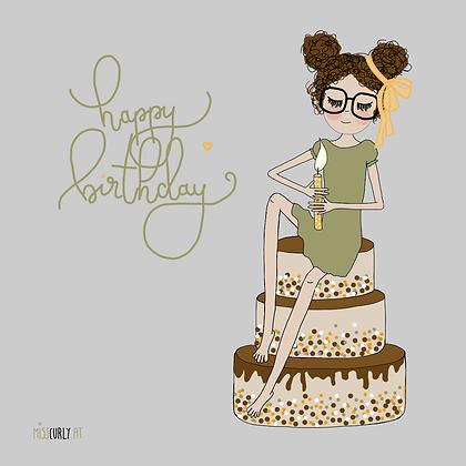 """Klappkarte """"Happy Birthday - Torte"""""""