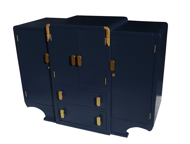 Art Deco 1930s Sideboard, Drinks/Cocktail Cabinet, Gin Bar, Blue and Gold