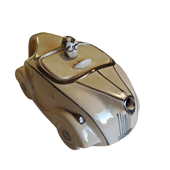 Vintage 1930s Sadler Racing Car OKT42 Teapot Ivory and Chrome Retro kitsch