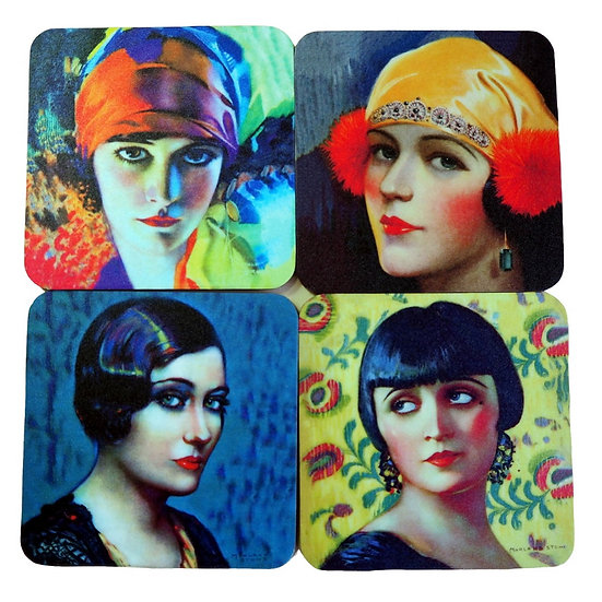 Art Deco Coasters set of 4 wooden, cork backed, coasters, Deco Diva, handmade