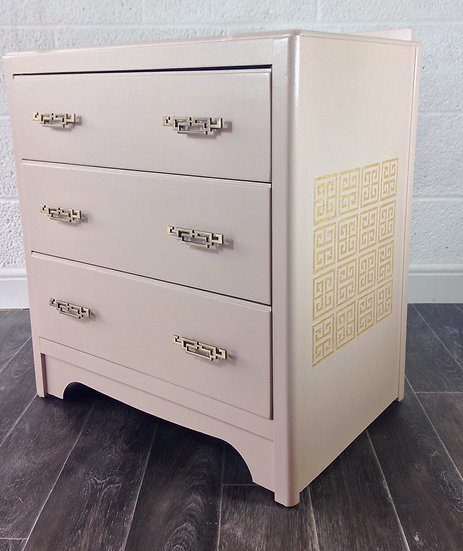 Upcycled, painted, vintage, blush pink and gold Chest of Drawers, Art Deco