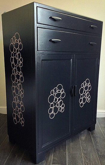 Art Deco style Drinks Cocktail Cabinet Painted Upcycled Vintage Retro Gin Bar