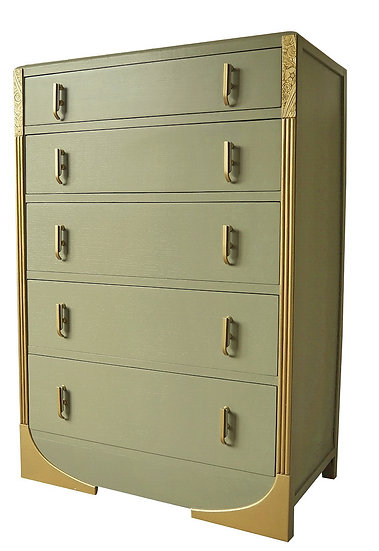 Art Deco Chest of Drawers, 1930s, painted, green and gold.