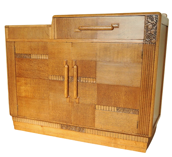 Art Deco 1930s Oak sideboard, Arts and Crafts style, Vintage Drinks Cabinet