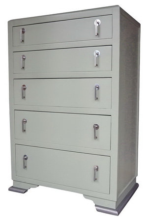 Art Deco 1930s Chest of Drawers, Painted, Green and Silver