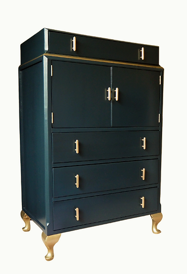 Art Deco 1930s Cocktail Drinks Cabinet, Gin Bar, Painted Green and Gold Vintage