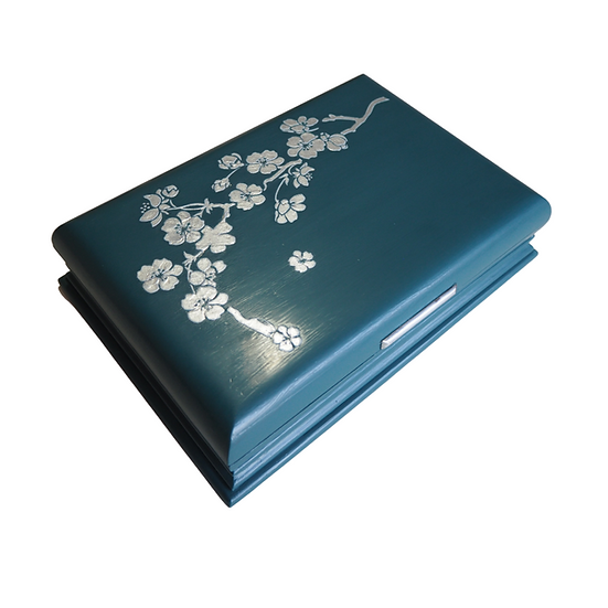 1930s Cigar Box, upcycled, painted with silver cherry blossom stencil