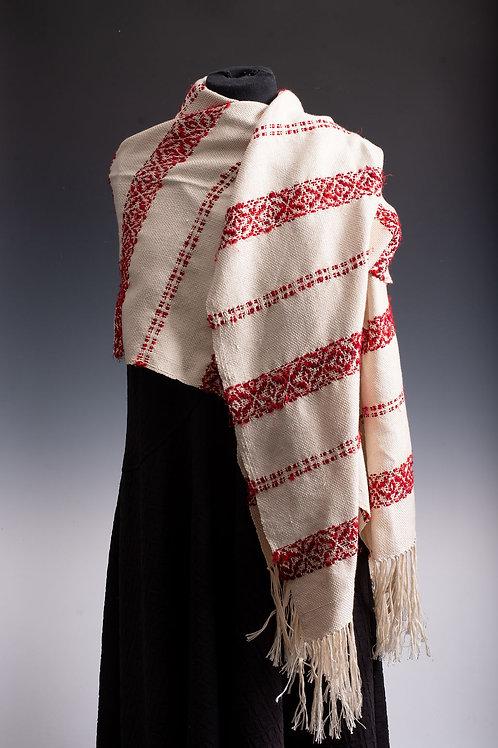 Silk shawl in reds