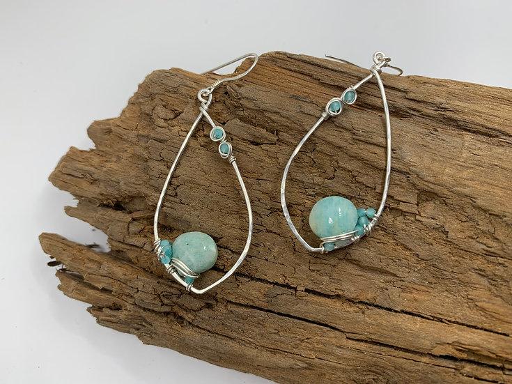ELIZABETH Amazonite Dewdrop Cluster Earrings