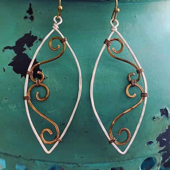 NATALIA Nouveau Swirl Mixed Metal Marquise Earrings