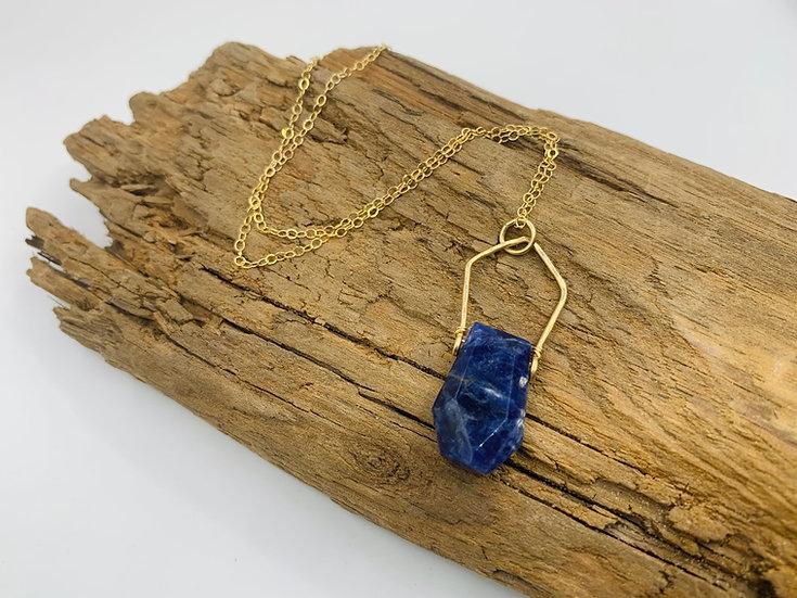 ERICA Sodalite & Gold Gem Point Necklace