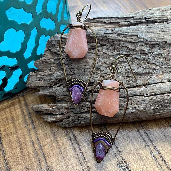 KICA Peach Calcite & Ruby Olive Leaf Earrings
