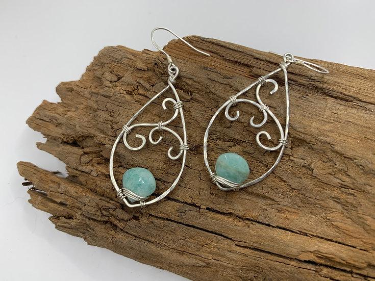 ADELINE Amazonite Nouveau Swirl Earrings