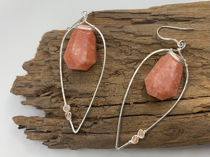 VICTORIA Peach Calcite & Sterling Silver Olive Leaf Earrings