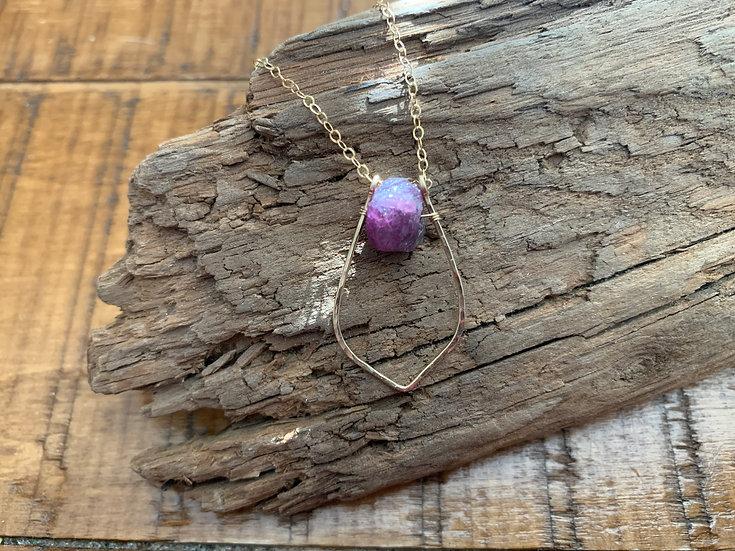 KATHERINE Raw Ruby Gold Dewdrop Necklace