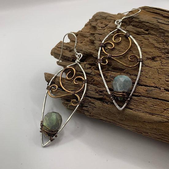 LINDA Labradorite Nouveau Swirl Olive Leaf Earrings